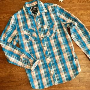 Fox racing shirt men's plaid long sleeve M